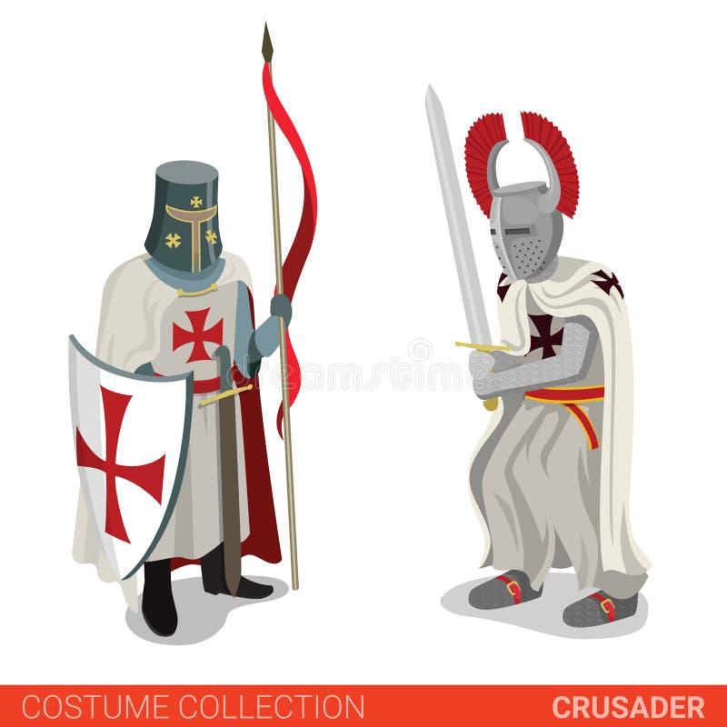Μεσαιωνικό ζεύγος μαχητών πολεμιστών σταυροφόρων διανυσματική απεικόνιση