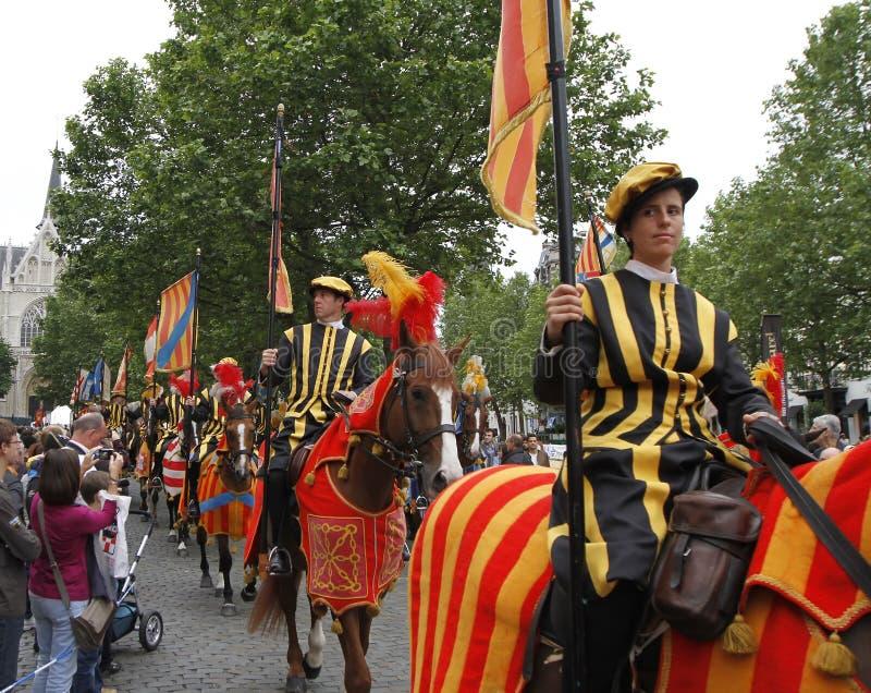 Μεσαιωνικό θέαμα στις Βρυξέλλες στοκ εικόνες