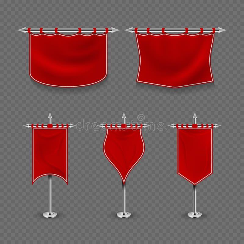 Μεσαιωνικό δικαίωμα, διανυσματικό σύνολο εμβλημάτων κόκκινων σημαιών υφάσματος βασιλιάδων απεικόνιση αποθεμάτων
