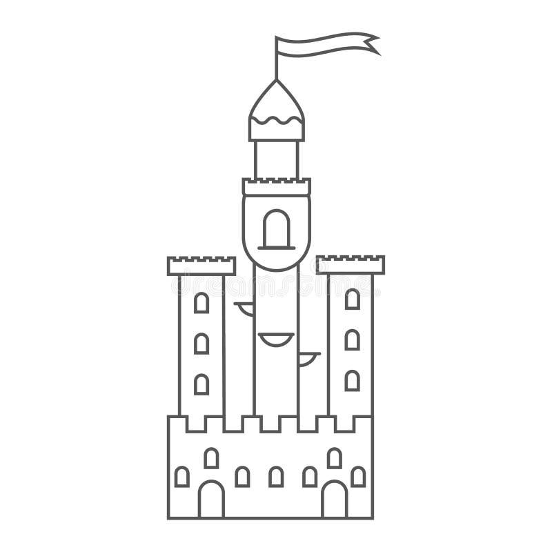 Μεσαιωνικό κάστρο εικονιδίων Πύργος παραμυθιού ελεύθερη απεικόνιση δικαιώματος