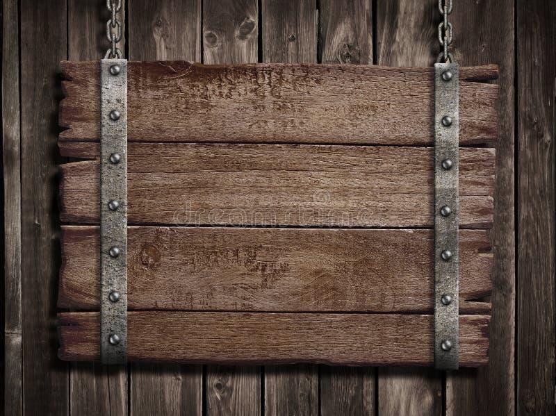 Μεσαιωνικό ξύλινο σημάδι πέρα από την παλαιά ξύλινη πινακίδα στοκ εικόνα με δικαίωμα ελεύθερης χρήσης