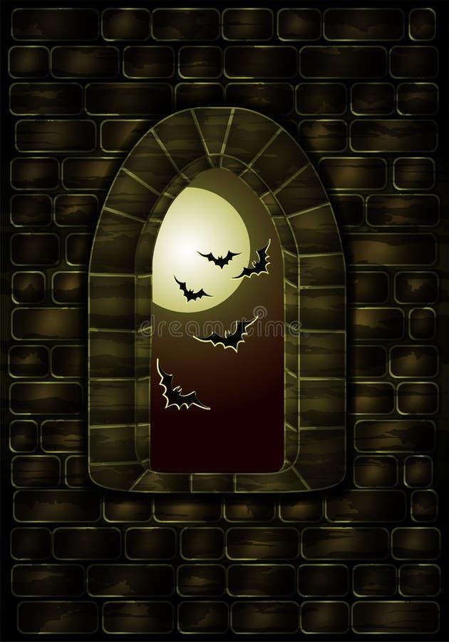 Μεσαιωνικό παράθυρο στο μαγικό κάστρο Ευτυχής κάρτα αποκριών, διάνυσμα ελεύθερη απεικόνιση δικαιώματος