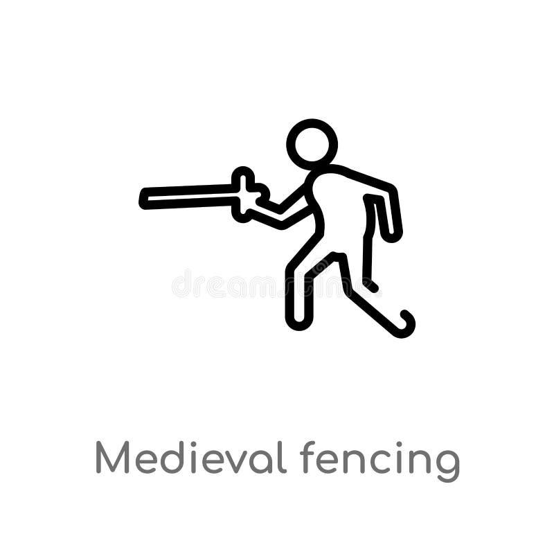 μεσαιωνικό περιφράζοντας διανυσματικό εικονίδιο περιλήψεων απομονωμένη μαύρη απλή απεικόνιση στοιχείων γραμμών από την αθλητική έ διανυσματική απεικόνιση
