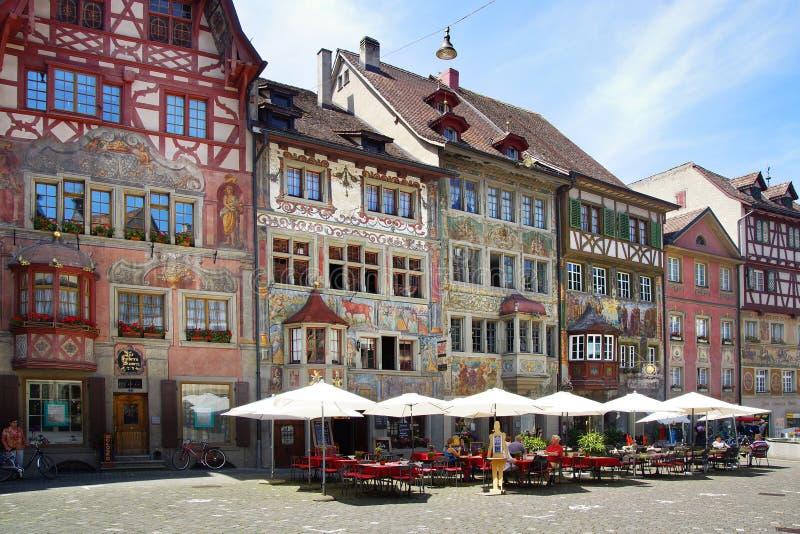 Μεσαιωνικό πόλης κέντρο Ρήνος stein στοκ εικόνες