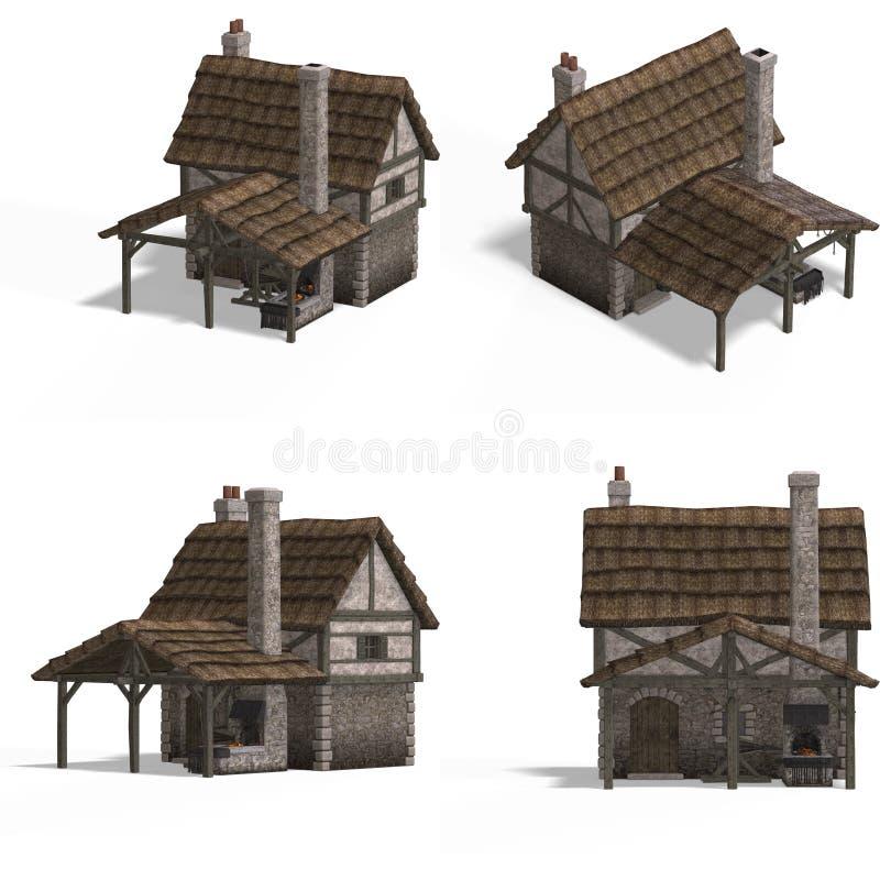 μεσαιωνικό σιδηρουργείο σπιτιών απεικόνιση αποθεμάτων