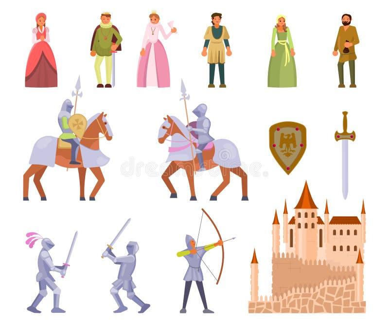 Μεσαιωνικό σύνολο εικονιδίων ιπποτών, διανυσματική επίπεδη απεικόνιση απεικόνιση αποθεμάτων