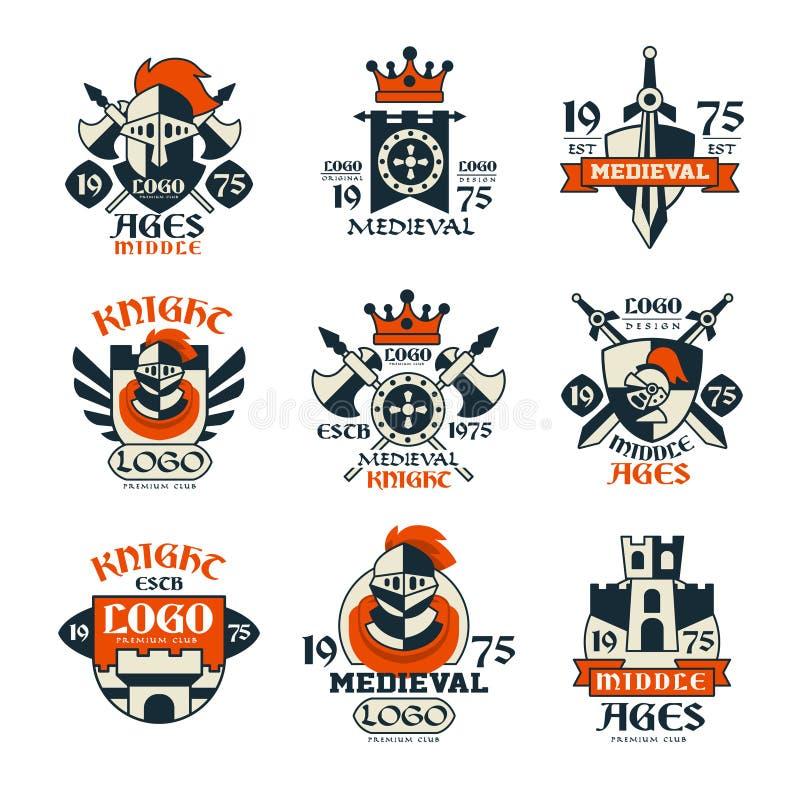 Μεσαιωνικό σύνολο σχεδίου λογότυπων, διανυσματικές απεικονίσεις εμβλημάτων Μεσαιώνων εκλεκτής ποιότητας διανυσματική απεικόνιση