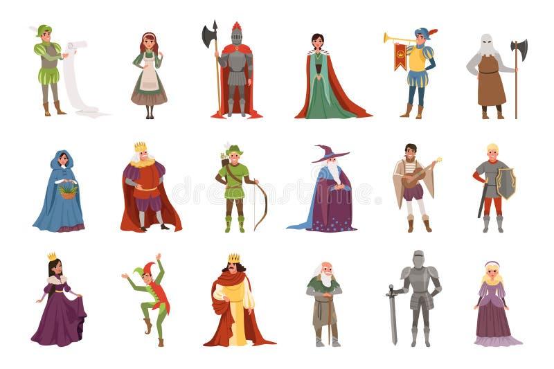 Μεσαιωνικό σύνολο χαρακτήρων ανθρώπων, ευρωπαϊκές διανυσματικές απεικονίσεις στοιχείων περιόδου Μεσαιώνων ιστορικές ελεύθερη απεικόνιση δικαιώματος