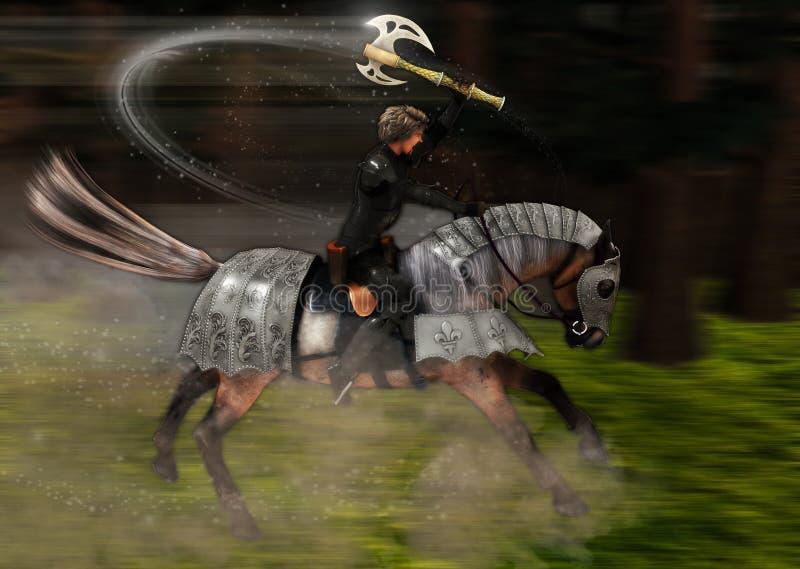Μεσαιωνικό τσεκούρι μάχης ιππικού που δίνει την πλάτη αλόγου αυλακώματος διανυσματική απεικόνιση