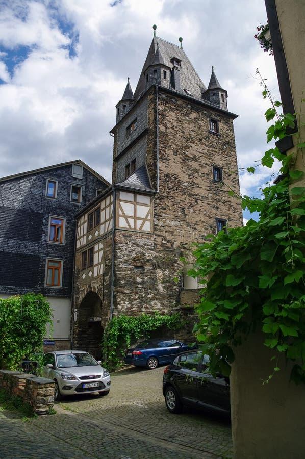 Μεσαιωνικό χωριό Bacharach Παραδοσιακά πλαίσια Fachwerk χ στοκ εικόνα