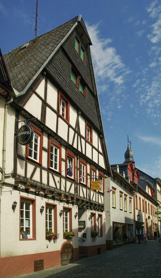 Μεσαιωνικό χωριό Bacharach Παραδοσιακά πλαίσια Fachwerk ho στοκ εικόνα με δικαίωμα ελεύθερης χρήσης