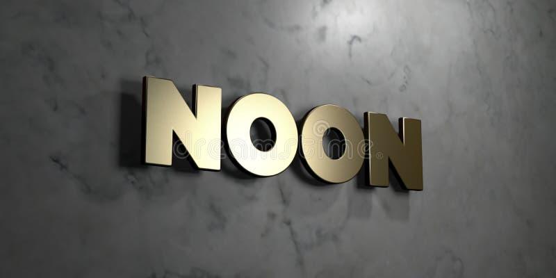 Μεσημέρι - χρυσό σημάδι που τοποθετείται στο στιλπνό μαρμάρινο τοίχο - τρισδιάστατο δικαίωμα ελεύθερη απεικόνιση αποθεμάτων ελεύθερη απεικόνιση δικαιώματος