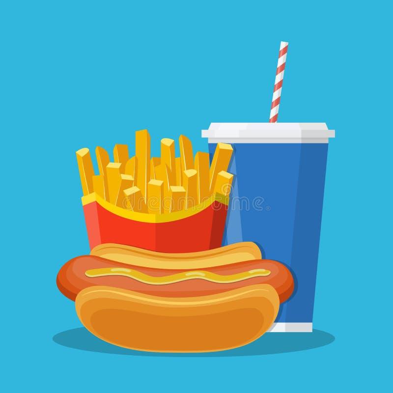 Μεσημεριανό γεύμα γρήγορου φαγητού διανυσματική απεικόνιση