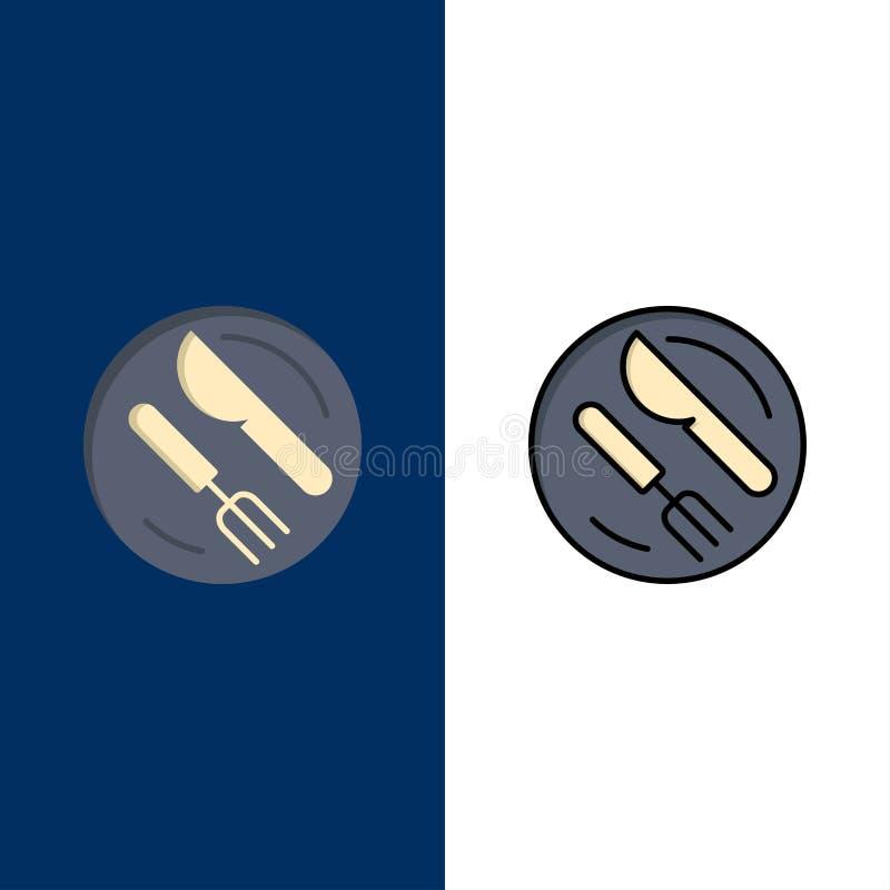 Μεσημεριανό γεύμα, πιάτο, κουτάλι, εικονίδια μαχαιριών Επίπεδος και γραμμή γέμισε το καθορισμένο διανυσματικό μπλε υπόβαθρο εικον διανυσματική απεικόνιση
