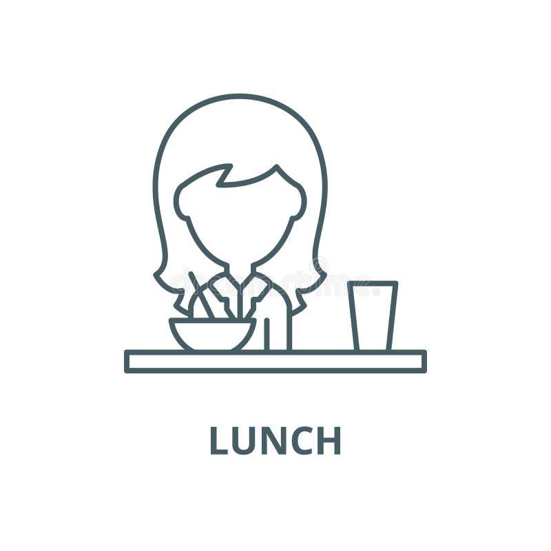 Μεσημεριανό γεύμα στο διανυσματικό εικονίδιο γραμμών τραπεζαρίας, γραμμική έννοια, σημάδι περιλήψεων, σύμβολο απεικόνιση αποθεμάτων