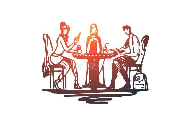 Μεσημεριανό γεύμα, τρόφιμα, γεύμα, γεύμα, έννοια ανθρώπων Συρμένο χέρι απομονωμένο διάνυσμα απεικόνιση αποθεμάτων
