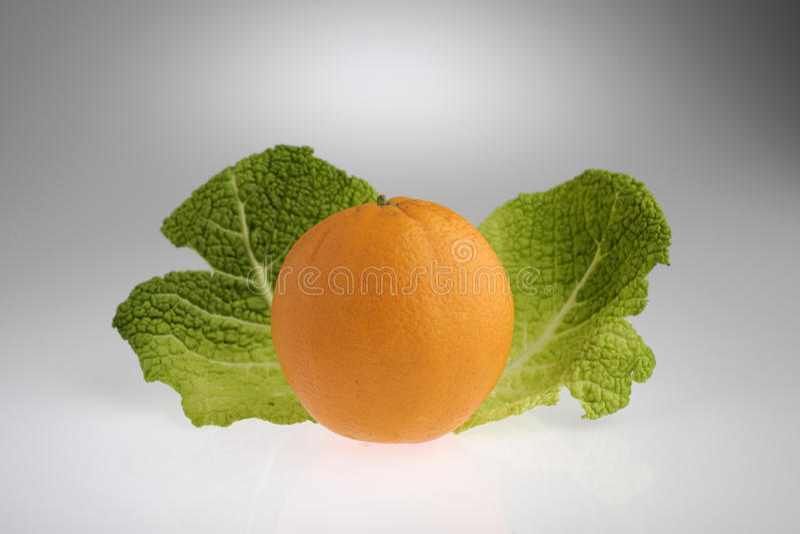 Μεσογειακά πορτοκάλια με τα φύλλα πράσινων λάχανων στοκ εικόνες