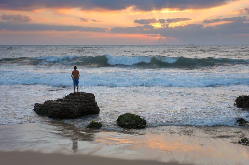 Μεσογειακή ακτή του Ισραήλ στοκ φωτογραφίες με δικαίωμα ελεύθερης χρήσης