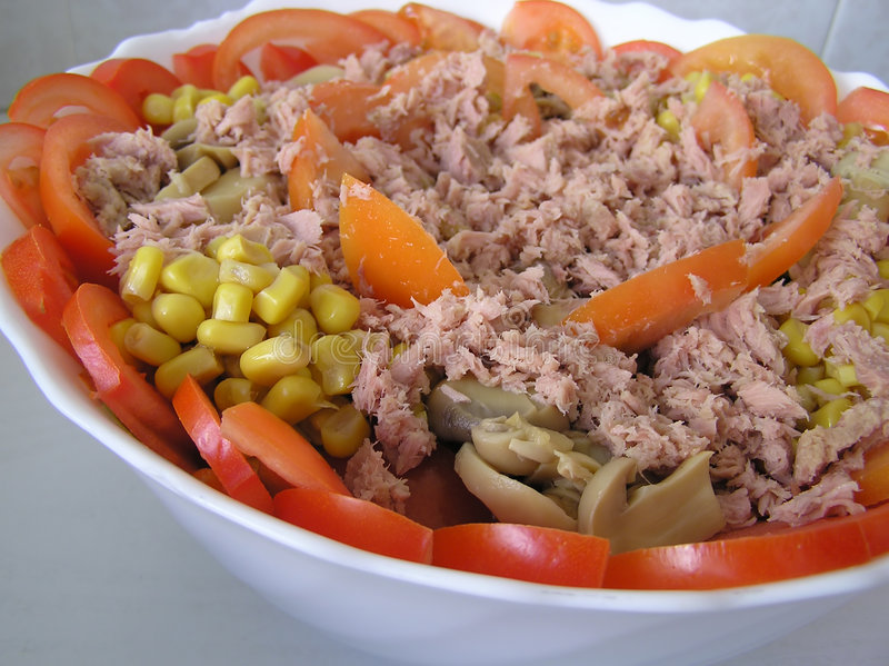 Download μεσογειακή σαλάτα στοκ εικόνες. εικόνα από πιάτο, τόνος - 99156