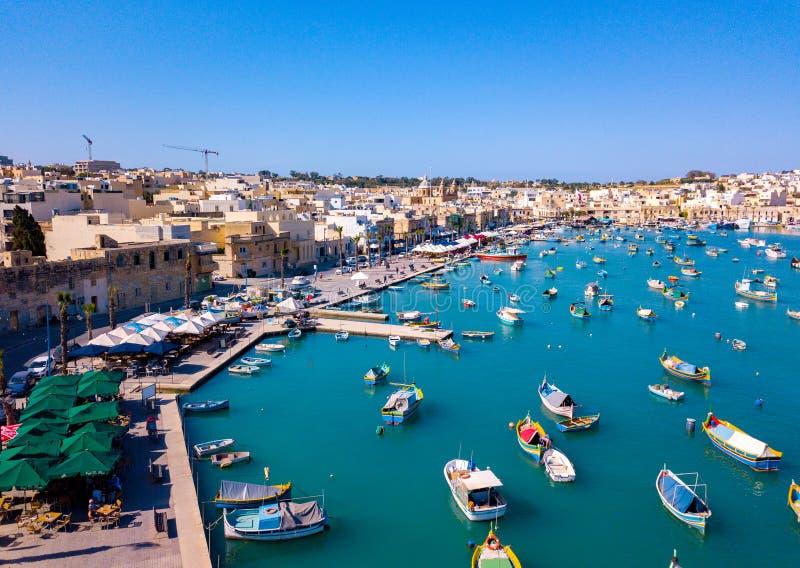 Μεσογειακό ψαροχώρι Marsaxlokk, Μάλτα στοκ φωτογραφία με δικαίωμα ελεύθερης χρήσης