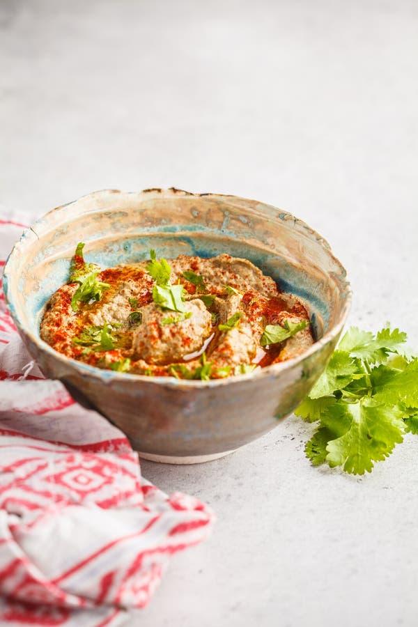 Μεσο-Ανατολική κουζίνα: μπαμπάς ganoush σε ένα πιάτο στο άσπρο backgr στοκ εικόνα