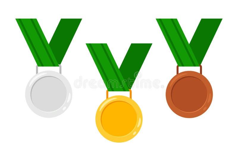 Μετάλλια με τις κορδέλλες διανυσματική απεικόνιση