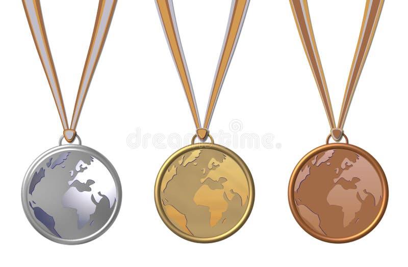 μετάλλια τρία απεικόνιση αποθεμάτων