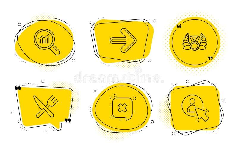 Μετάλλιο δαφνοστεφών, ανάλυση στοιχείων και εικονίδια απορριμάτων καθορισμένα Έπειτα, σημάδια τροφίμων και χρηστών r ελεύθερη απεικόνιση δικαιώματος