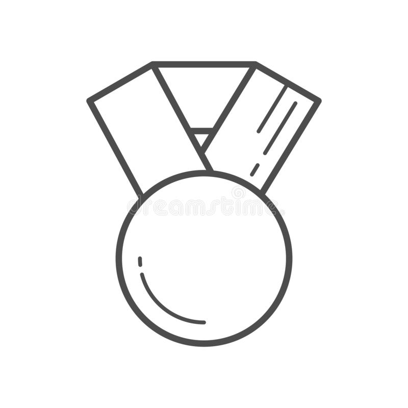 Μετάλλιο, διακριτικό ή βραβείο με τις κορδέλλες Επίπεδο διανυσματικό εικονίδιο γραμμών ελεύθερη απεικόνιση δικαιώματος