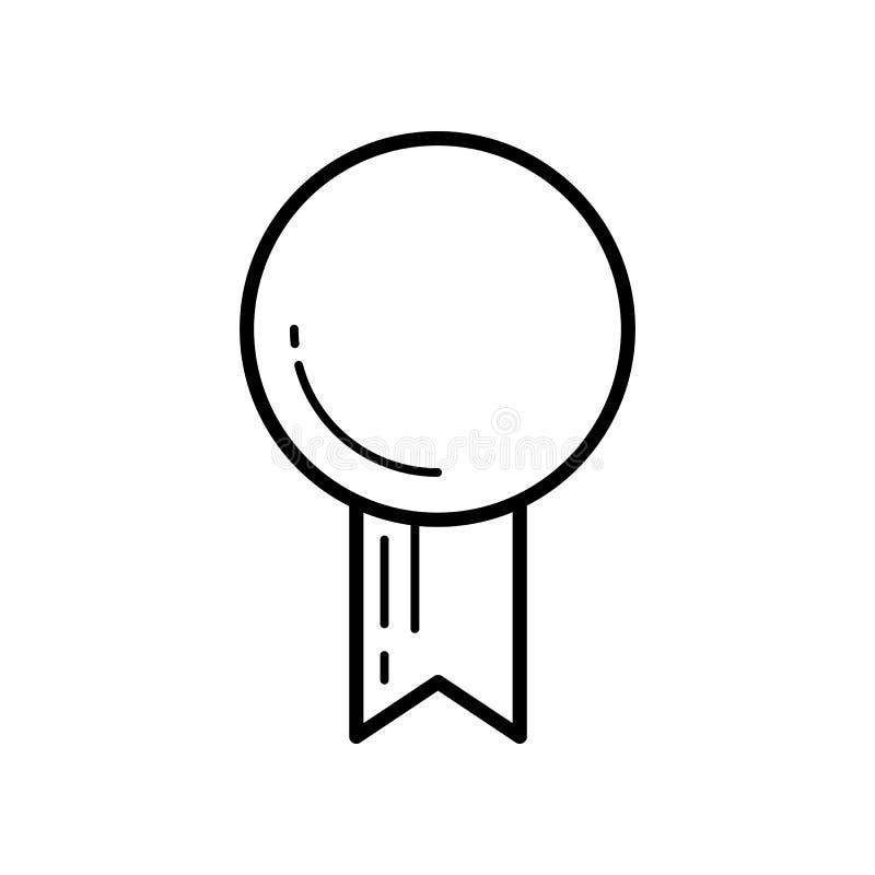 Μετάλλιο, διακριτικό ή βραβείο με τις κορδέλλες Επίπεδο διανυσματικό εικονίδιο γραμμών απεικόνιση αποθεμάτων
