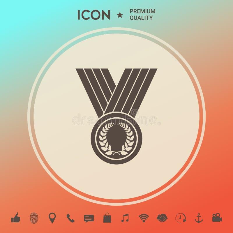 Μετάλλιο με το στεφάνι δαφνών, εικονίδιο ελεύθερη απεικόνιση δικαιώματος