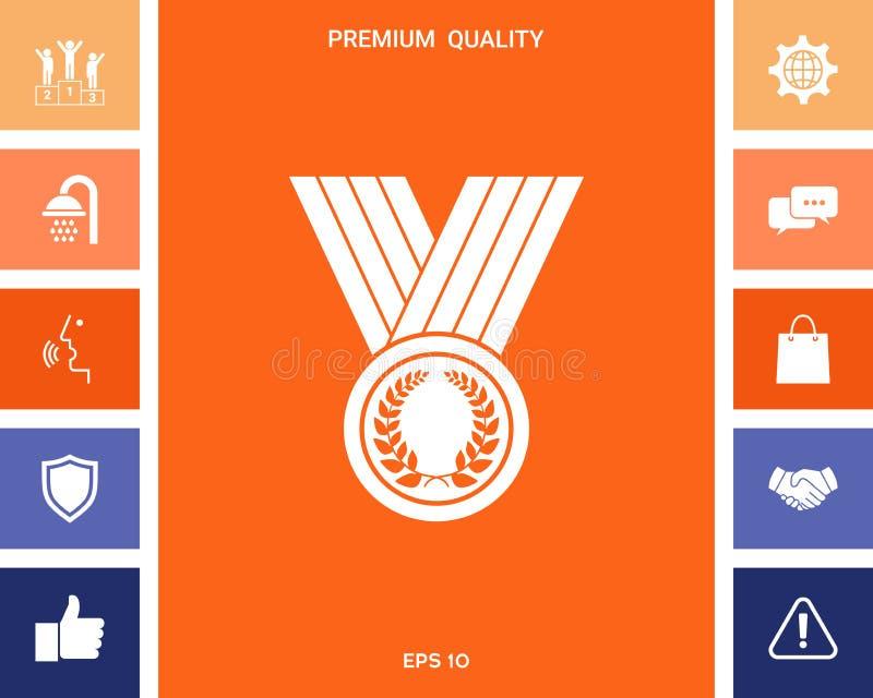 Μετάλλιο με το στεφάνι δαφνών, εικονίδιο απεικόνιση αποθεμάτων