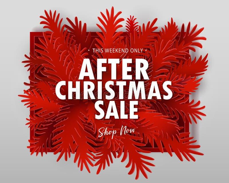 Μετά από το έμβλημα πώλησης Χριστουγέννων ελεύθερη απεικόνιση δικαιώματος