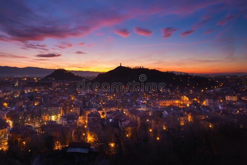 Μετά από το ηλιοβασίλεμα σε Plovdiv στοκ εικόνα με δικαίωμα ελεύθερης χρήσης