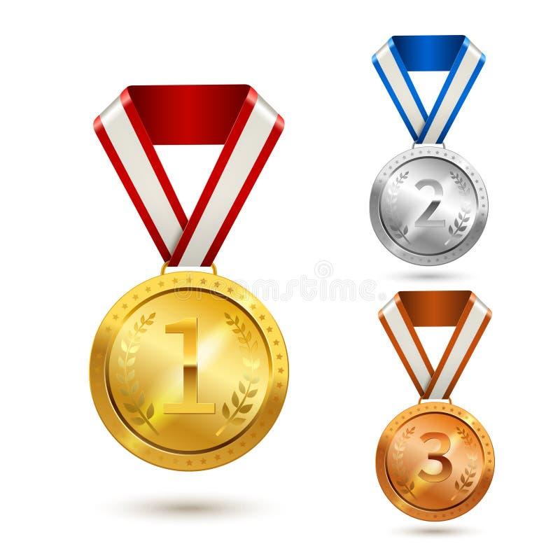 Μετάλλια βραβείων καθορισμένα ελεύθερη απεικόνιση δικαιώματος