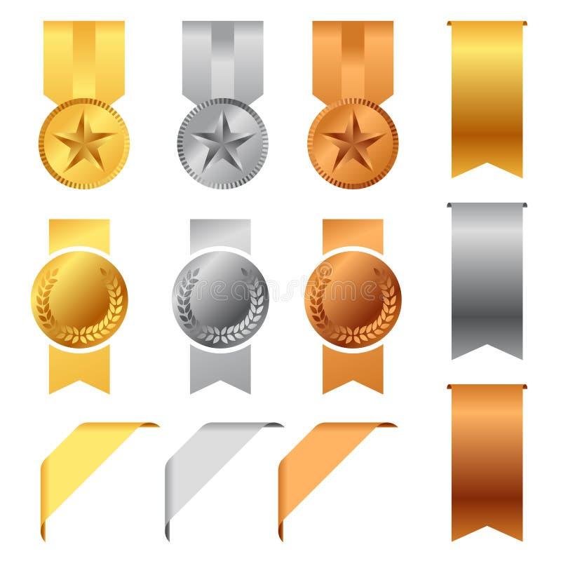 Μετάλλια βραβείων χρυσού, ασημιών και χαλκού και διανυσματικό καθορισμένο σχέδιο κορδελλών βραβείων απεικόνιση αποθεμάτων