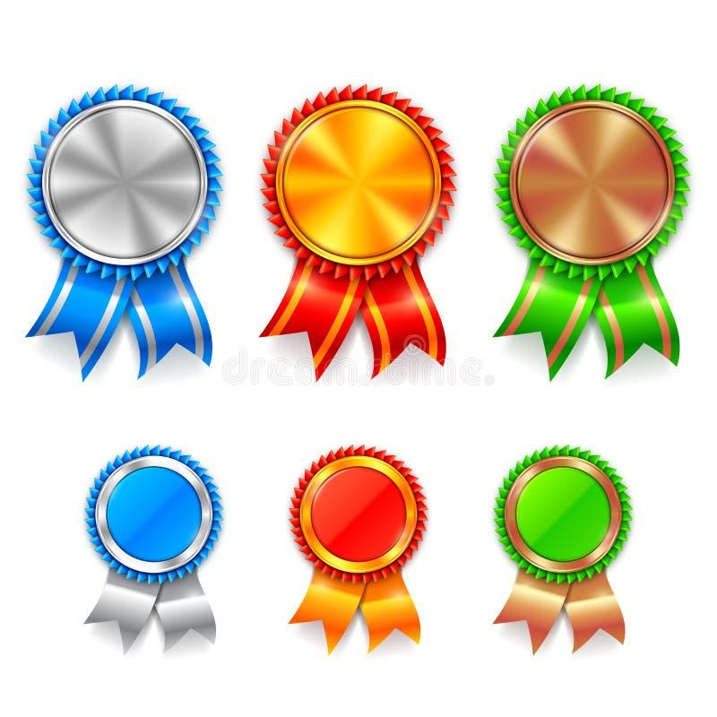 Μετάλλια βραβείων χρώματος διανυσματική απεικόνιση
