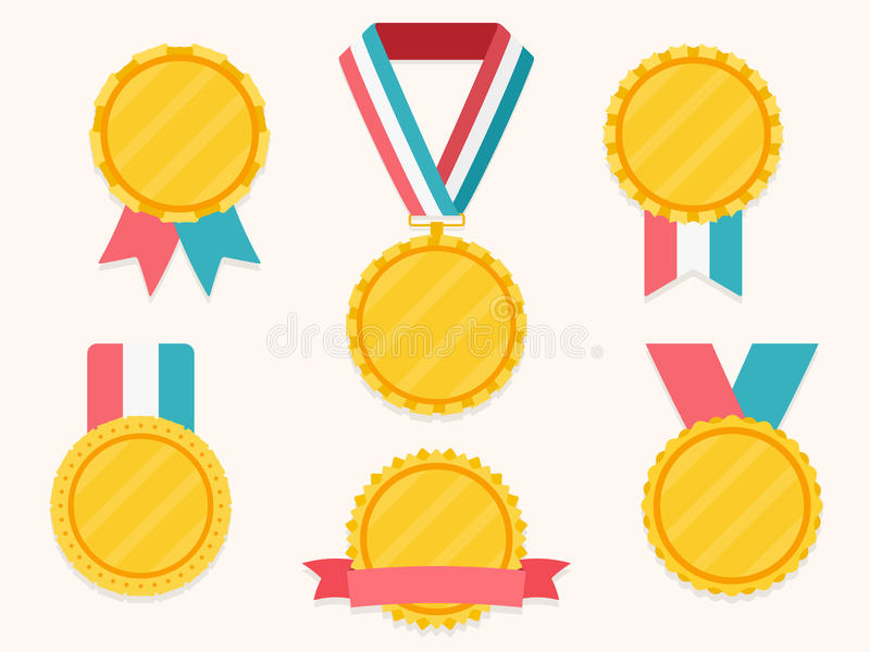 Μετάλλια με τις κορδέλλες ελεύθερη απεικόνιση δικαιώματος