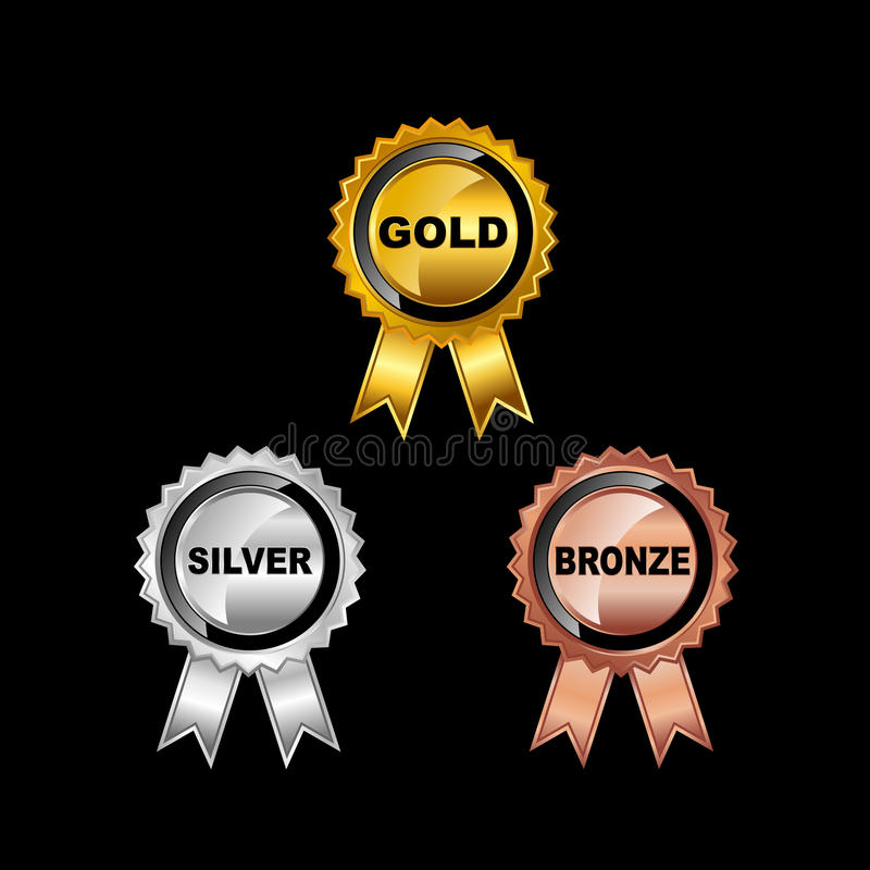 μετάλλια που τίθενται Χρυσό μετάλλιο Ασημένιο μετάλλιο Χάλκινο μετάλλιο διανυσματική απεικόνιση