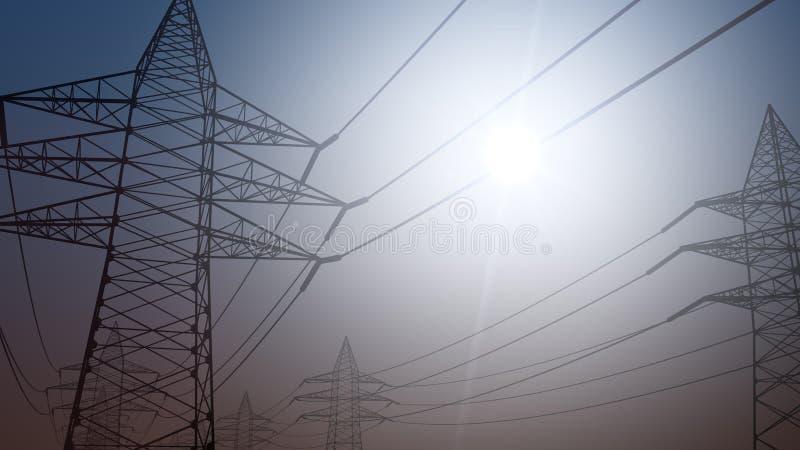 Μετάδοση ηλεκτρικής ενέργειας Απλουστευμένο ηλεκτροφόρο καλώδιο ενάντια στον ηλιόλουστο ουρανό τρισδιάστατη απόδοση στοκ εικόνες με δικαίωμα ελεύθερης χρήσης
