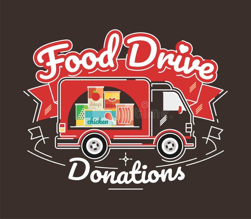 Μετακίνηση φιλανθρωπίας Drive τροφίμων, διανυσματική απεικόνιση διανυσματική απεικόνιση