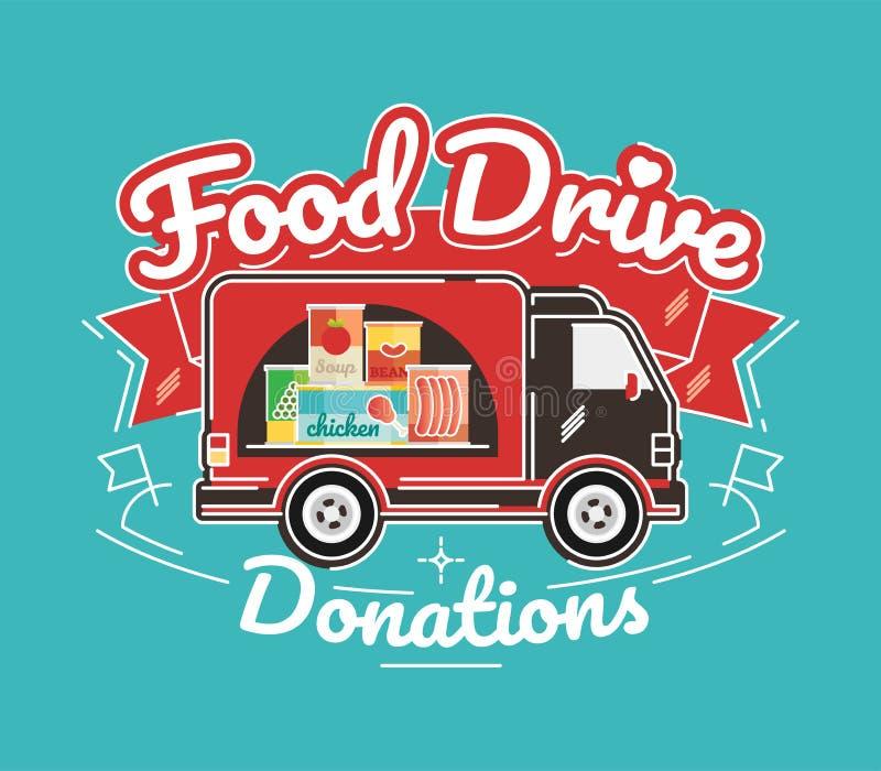 Μετακίνηση φιλανθρωπίας Drive τροφίμων, διανυσματική απεικόνιση απεικόνιση αποθεμάτων