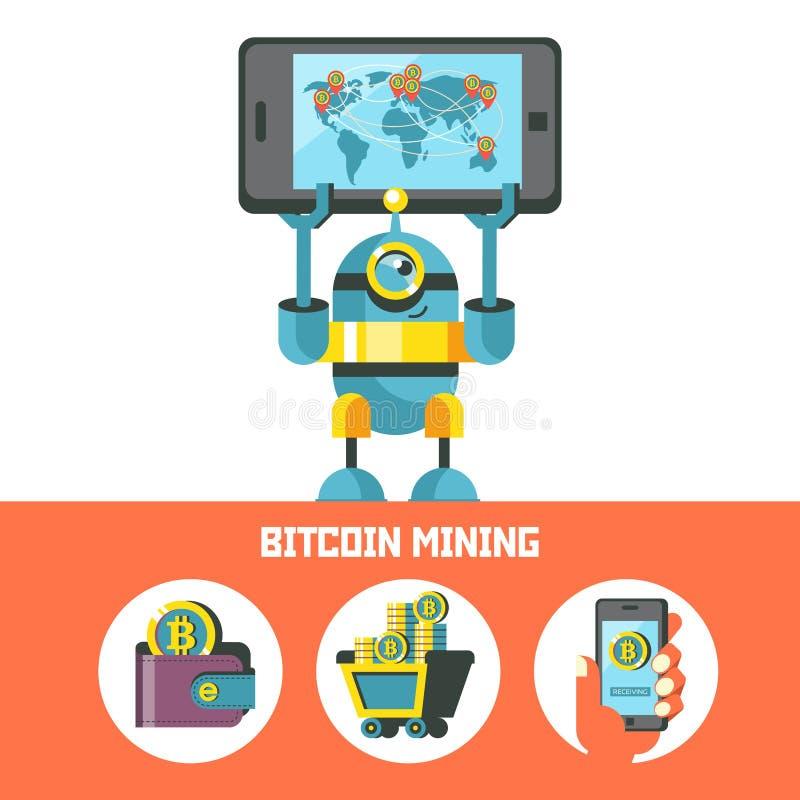 Μεταλλεία Bitcoin Διανυσματική εννοιολογική απεικόνιση Cryptocurrency απεικόνιση αποθεμάτων