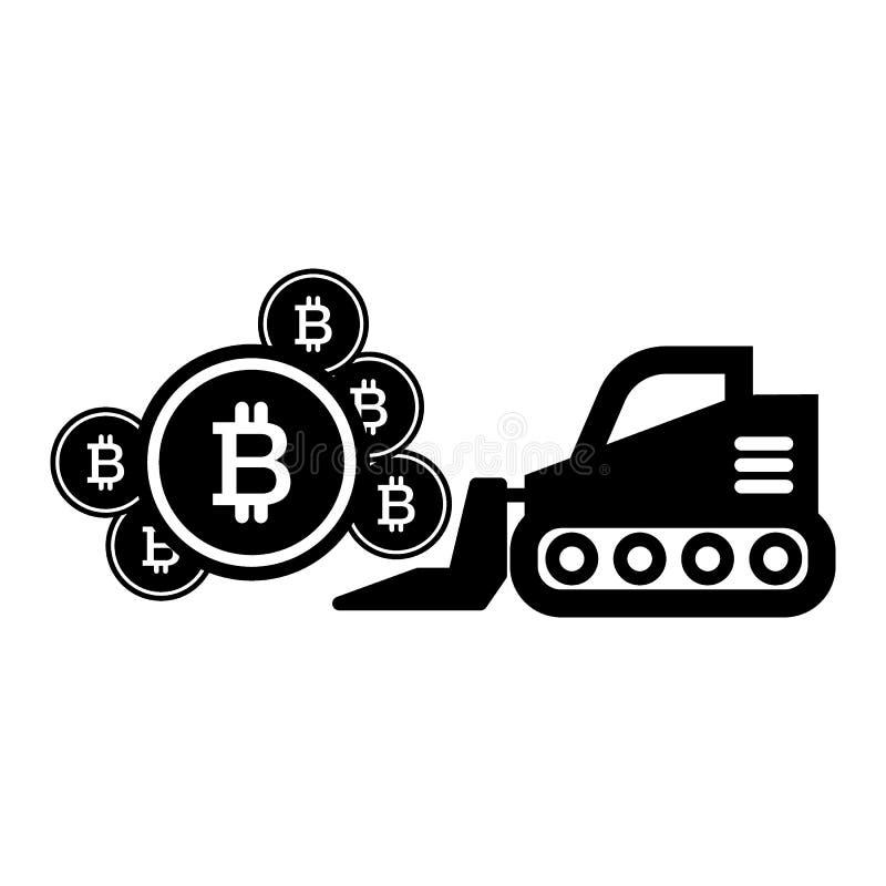 Μεταλλεία Bitcoin, στερεό εικονίδιο εκσκαφέων Απεικόνιση που απομονώνεται διανυσματική στο λευκό glyph σχέδιο ύφους, που σχεδιάζε απεικόνιση αποθεμάτων