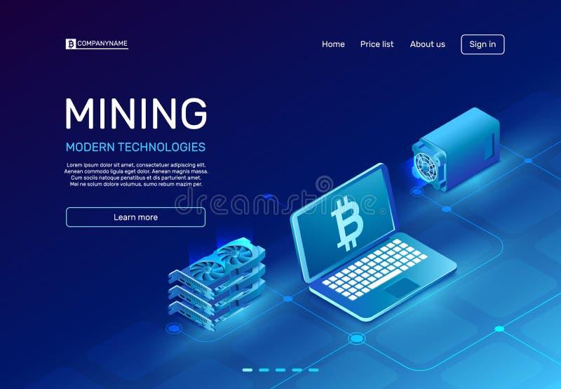 Μεταλλεία Cryptocurrency Αγροτικός κεντρικός υπολογιστής Blockchain ή συγκρότημα ηλεκτρονικών υπολογιστών ορυχείων Ψηφιακό isomet απεικόνιση αποθεμάτων