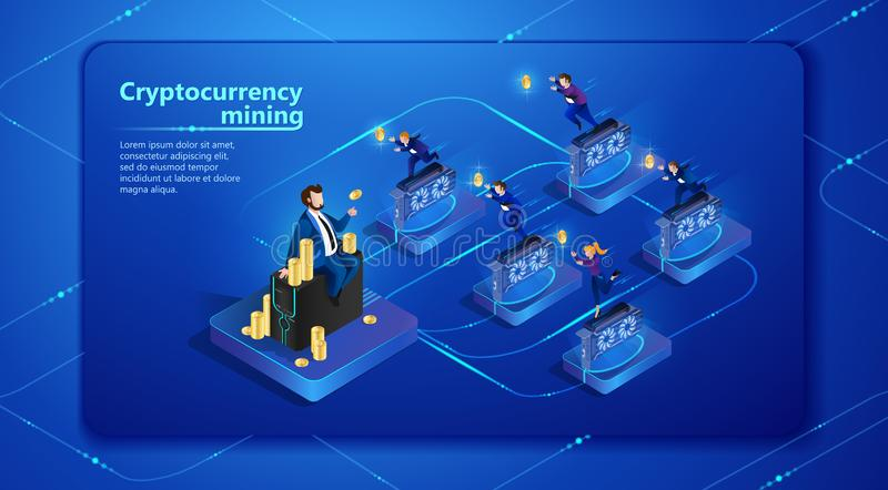 Μεταλλεία Cryptocurrency επίσης corel σύρετε το διάνυσμα απεικόνισης απεικόνιση αποθεμάτων