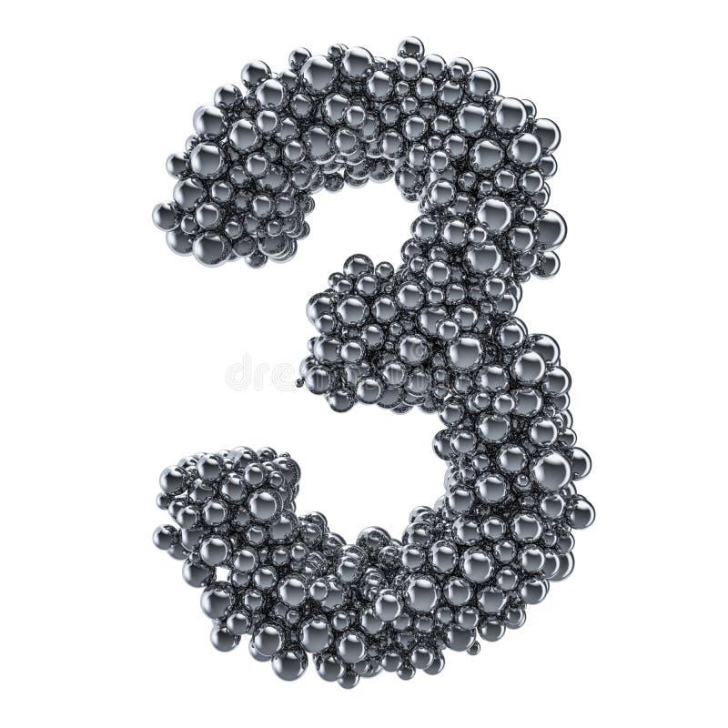 Μεταλλικός αριθμός 3 από τις σφαίρες μετάλλων, τρισδιάστατη απόδοση διανυσματική απεικόνιση
