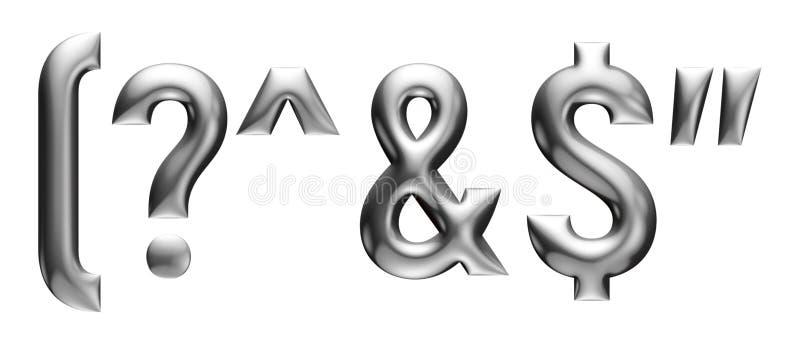 Μεταλλικό αλφάβητο με τη γραμμική πηγή, σημεία στίξης, επιστολές, επίδραση χρωμίου με τη λοξότμηση, άσπρο υπόβαθρο απεικόνιση αποθεμάτων