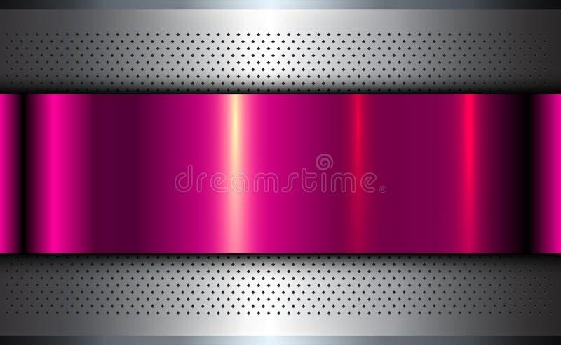 Μεταλλικό ασημένιο ροζ υποβάθρου διανυσματική απεικόνιση