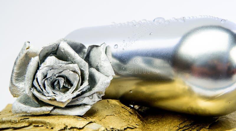 Μεταλλικό ασημένιο χρώμα Έννοια οινοποιιών Floral κρασί Λουλούδι μετάλλων στο ασημένιο μπουκάλι χάλυβα Σφυρηλατημένο κομμάτι και  στοκ εικόνες με δικαίωμα ελεύθερης χρήσης